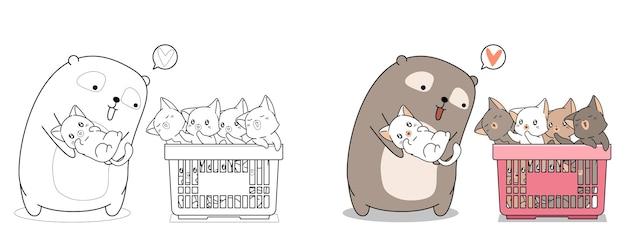 Niedliche bären- und babykatzenkarikaturmalvorlage für kinder Premium Vektoren