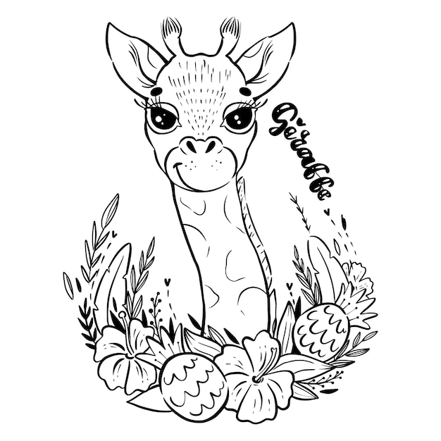 Niedliche blumige baby-giraffe Premium Vektoren