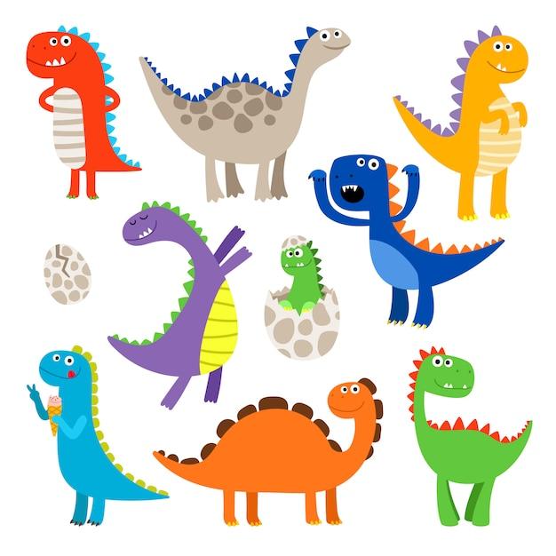 Niedliche cartoon-dinosaurier Premium Vektoren