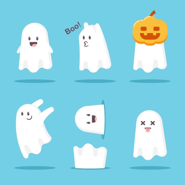 Niedliche cartoon-ghost-set. lustiges charaktermonster halloweens lokalisiert auf weißem hintergrund. Premium Vektoren