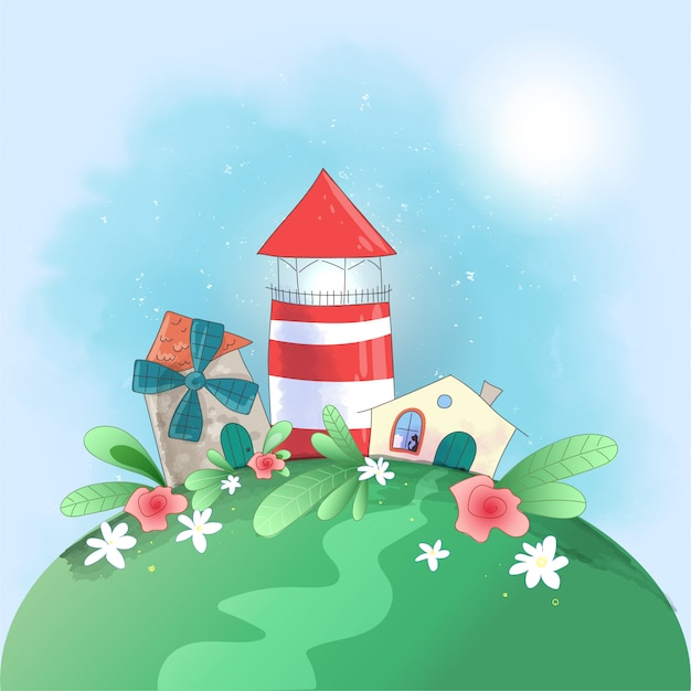 Niedliche cartoon kleinstadt leuchtturm, mühle und haus mit blumen, Premium Vektoren
