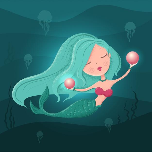 Niedliche cartoonmeerjungfrau mit einer perle in einer flachen art mit beschaffenheiten. illustration Premium Vektoren
