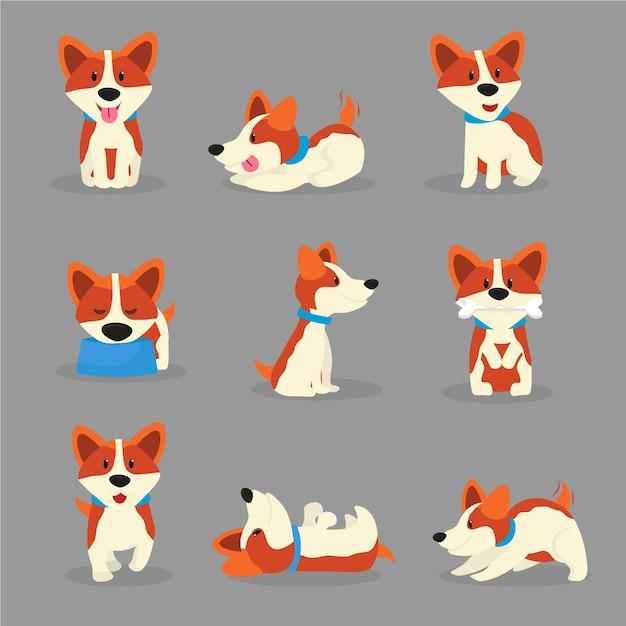 Niedliche corgi-hundefarbabbildungen setzen, verspielter rassenwelpe in verschiedenen posen cartoon-aufkleber, patches gesetzt, glückliches haustier im halsband cliparts, haustier essen, schlafen, spielen Premium Vektoren
