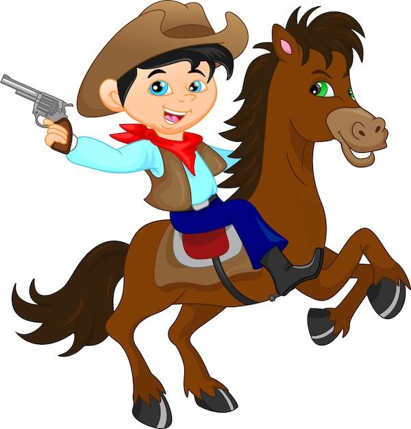 Niedliche cowboykinderkarikatur Premium Vektoren