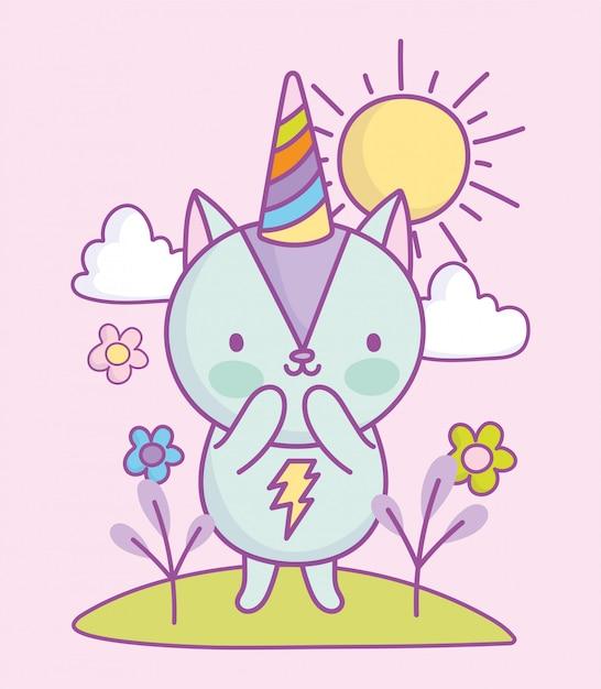 Niedliche eichhörnchen regenbogen party hut blumen gras wolken sonne gras cartoon illustration Premium Vektoren