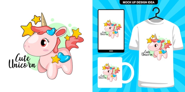 Niedliche einhorn cartoon illustration und merchandising Premium Vektoren