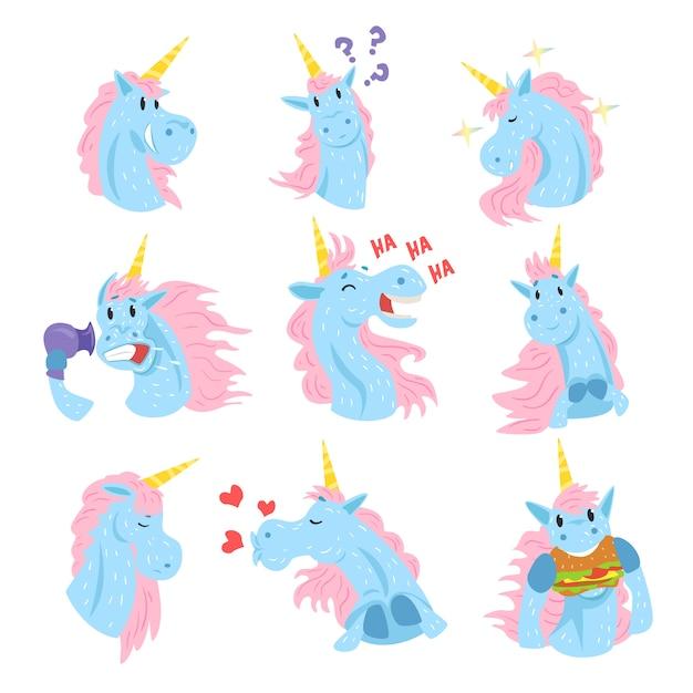 Niedliche einhorncharaktere setzen, lustige mythische tiere mit verschiedenen emotionen setzen bunte illustrationen auf einem weißen hintergrund Premium Vektoren