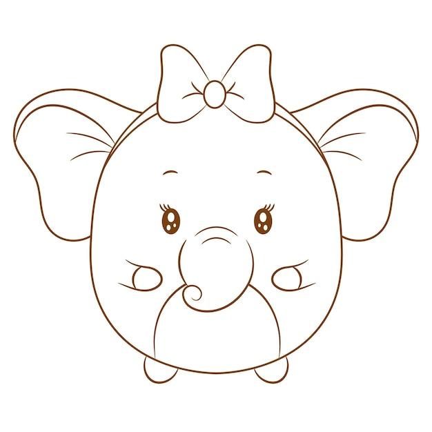 Niedliche elefantenzeichnungsskizze zum färben mit schönem bogen Premium Vektoren
