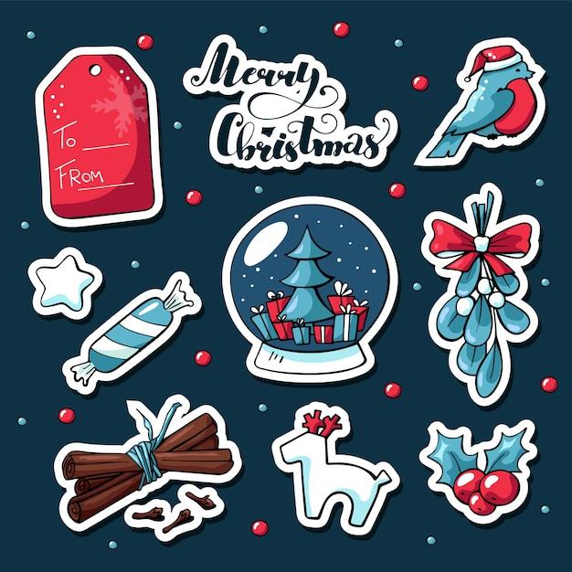 Niedliche gekritzel weihnachtsaufkleber in der cartoonart Premium Vektoren