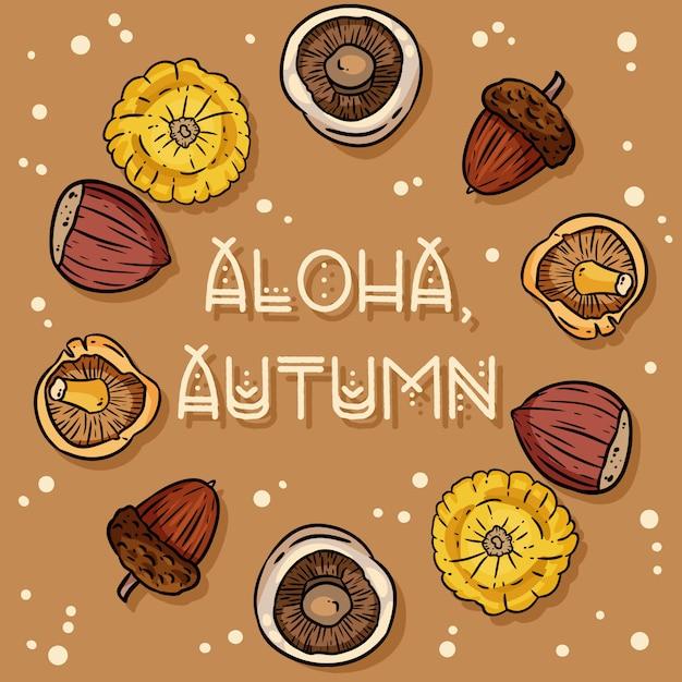 Niedliche gemütliche karte des dekorativen kranzes aloha herbstes Premium Vektoren