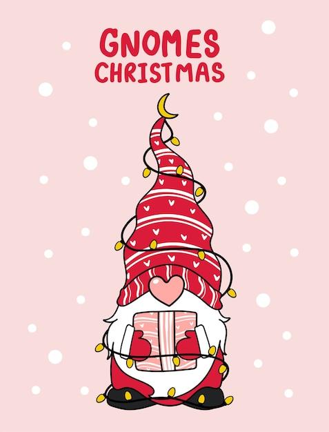 Niedliche gnome rosa nase weihnachten mit leichter karikaturillustration Premium Vektoren