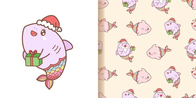 Niedliche hai-meerjungfrau-karikaturmuster nahtlos mit rosa hintergrund für weihnachten Premium Vektoren