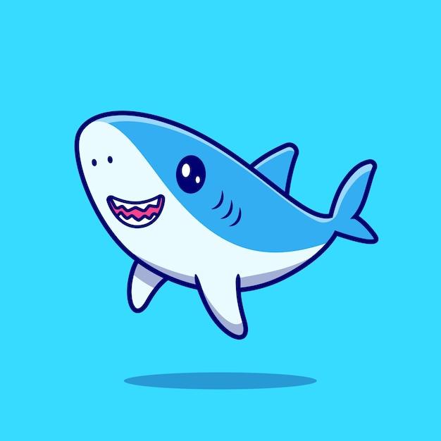 Niedliche hai-schwimmkarikatur-symbol-illustration. Kostenlosen Vektoren