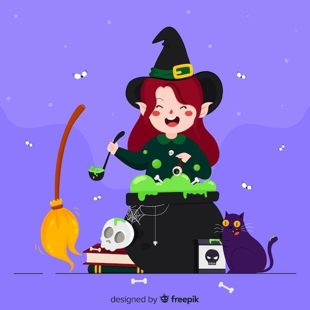 Niedliche halloween-cartoonhexe Kostenlosen Vektoren