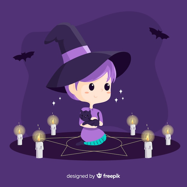 Niedliche halloween-hexe mit bann Kostenlosen Vektoren