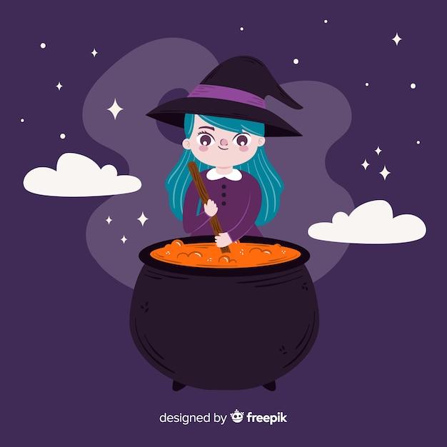 Niedliche halloween-hexenkarikatur Kostenlosen Vektoren