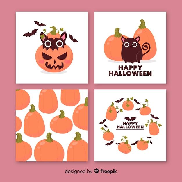 Niedliche halloween-tiere und kürbiskartensammlung Kostenlosen Vektoren