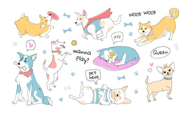 Niedliche hunde kritzeln charaktere. hunde verschiedener rassen. niedliche haustiere mit pastellfarbpalette. hand gezeichneter stil. husky, mops, corgi, shiba inu Premium Vektoren