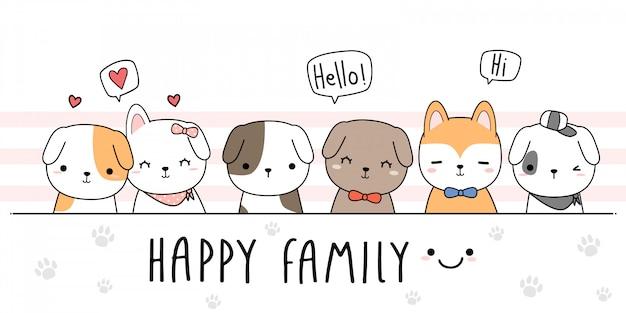 Niedliche hundewelpen-familienkarikatur Premium Vektoren