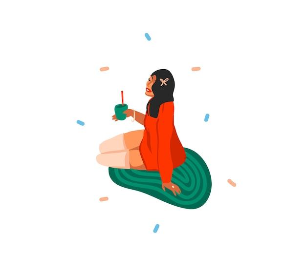 Niedliche illustrationen des mädchens trinkt feiertagsweihnachtscocktails isoliert Premium Vektoren