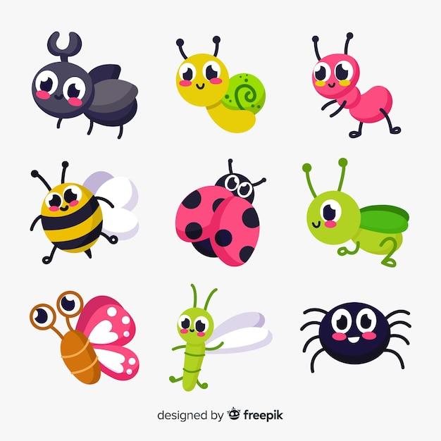 Niedliche insektenpackung Kostenlosen Vektoren