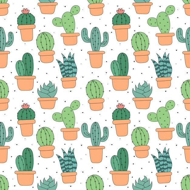 Niedliche kaktus-karikatur des kawaii nahtlosen musters lokalisiert Premium Vektoren