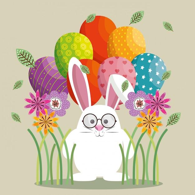 Niedliche kaninchen glücklich ostern karte Premium Vektoren