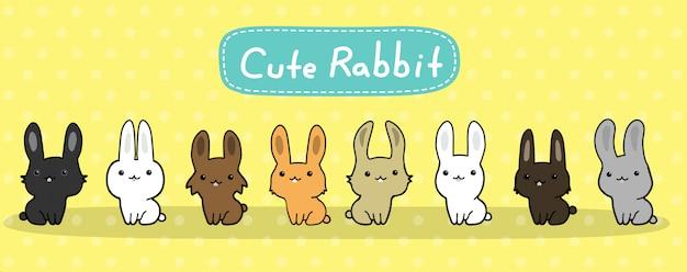 Niedliche kaninchen vektor festgelegt Premium Vektoren