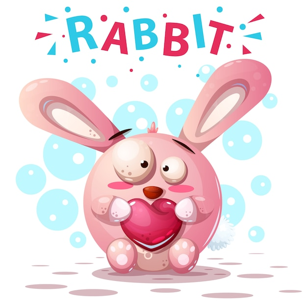 Niedliche kaninchenfiguren Premium Vektoren