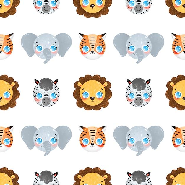 Niedliche karikaturgesichter des nahtlosen musters tropischer tiere. nahtloses muster löwe, elefant, zebra, tiger. Premium Vektoren