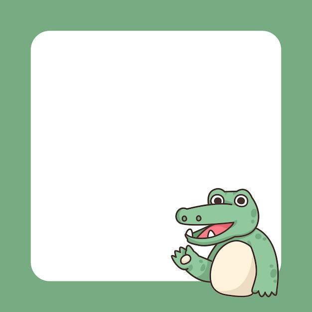 Niedliche karikaturillustration des krokodilnotizblocks Premium Vektoren