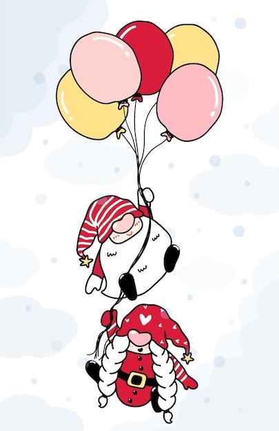 Niedliche karikaturillustration zwei gnome halten ballon auf himmel im schnee Premium Vektoren
