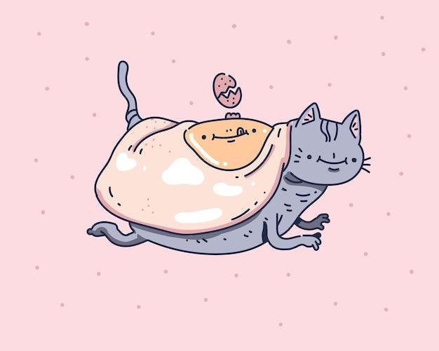 Niedliche katze design ist mit eiern bedeckt. katze, die gekritzelart zeichnet Premium Vektoren