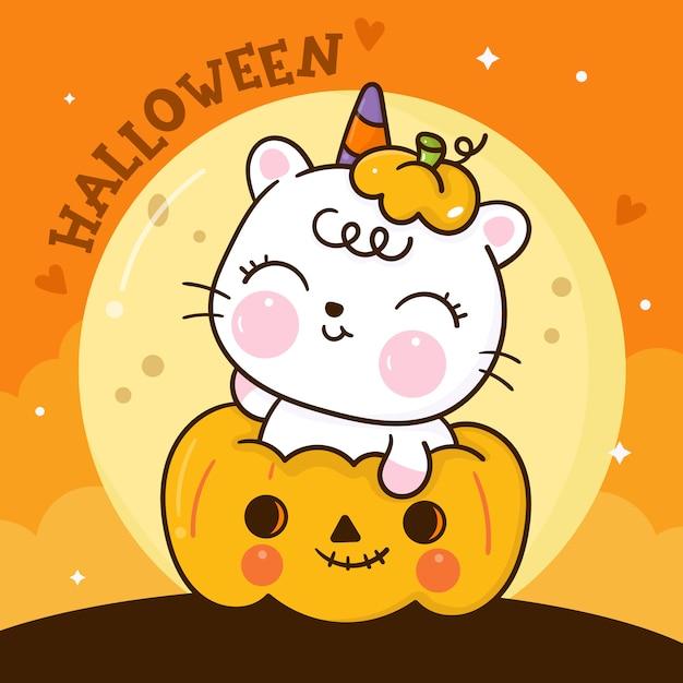 Niedliche katze halloween karikatur auf kürbis kawaii tierhand gezeichnet Premium Vektoren