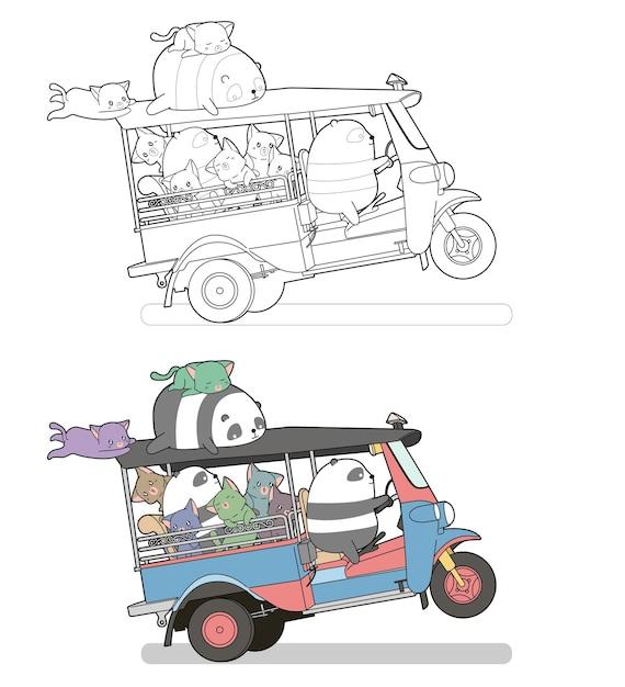 Niedliche katzen und pandas auf dem dreiradkarikatur leicht ausmalbilder für kinder Premium Vektoren