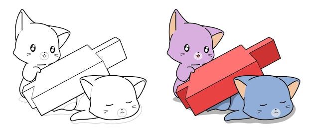 niedliche katzen und rote kerzenhalterkarikatur