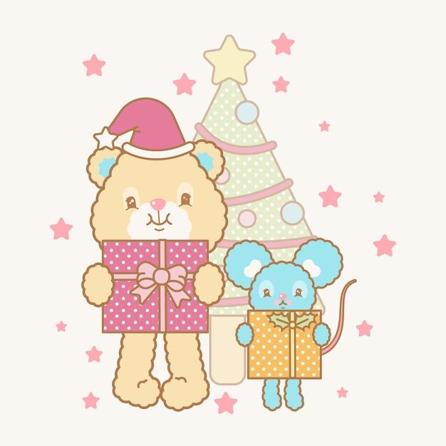 Niedliche kawaii weihnachtskarte Premium Vektoren