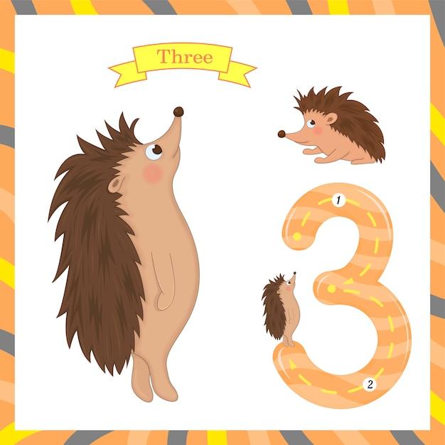 Niedliche kinder flashcard nummer drei mit 3 igeln nachzeichnen, damit kinder lernen zu zählen und zu schreiben. Premium Vektoren