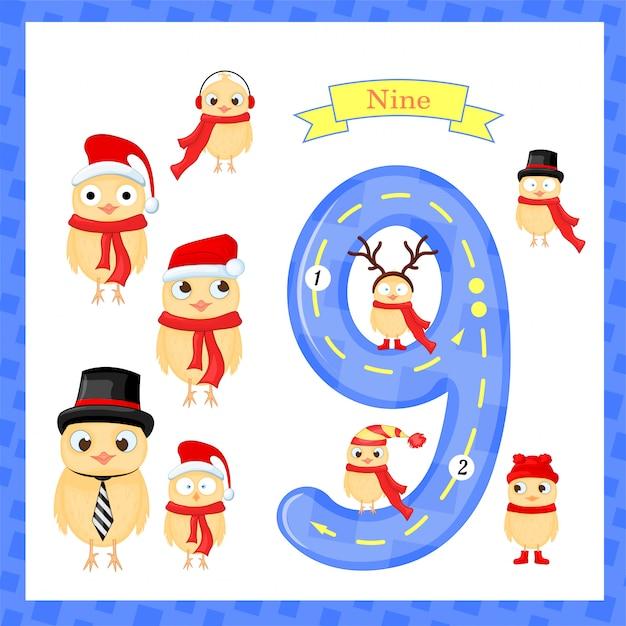 Niedliche kinder flashcard nummer eins mit 9 chicks für kinder, die lernen zu zählen und zu schreiben. die zahlen 0-10 lernen, Premium Vektoren
