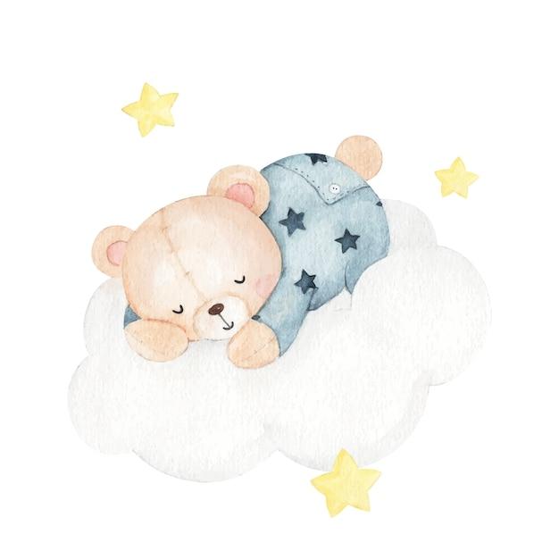 Niedliche kleine bärenschlafaquarellillustration Premium Vektoren