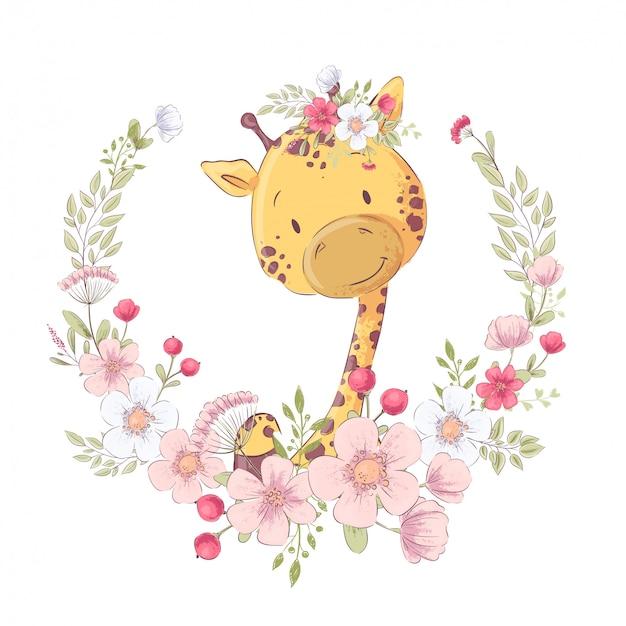 Niedliche kleine giraffe des postkartenplakats in einem kranz von blumen Premium Vektoren