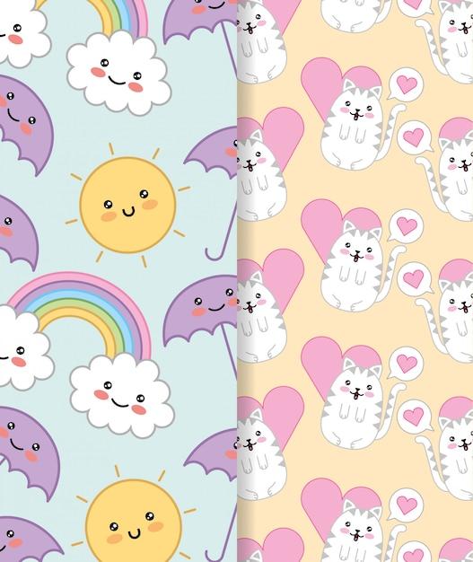 Niedliche kleine katzen mit herz und regenbogen kawaii zeichenentwurf Premium Vektoren