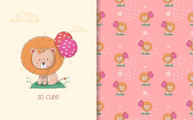 Niedliche kleine löwenkarte und nahtloses muster. kinderillustration Premium Vektoren