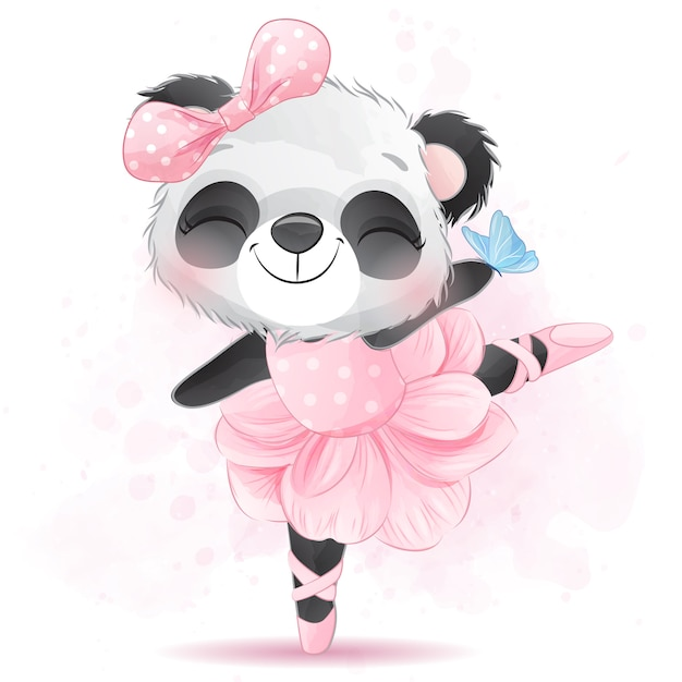 Niedliche kleine panda ballerina Premium Vektoren