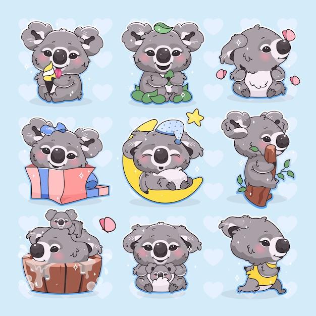 Niedliche koala kawaii zeichentrickfiguren eingestellt. entzückendes und lustiges lächelndes tier läuft, schläft, badet und isst isolierte aufkleber, patches packen. anime baby koala auf blauem hintergrund Premium Vektoren