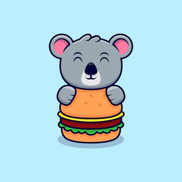Niedliche koala-umarmung der große burger-maskottchen-karikatur Premium Vektoren