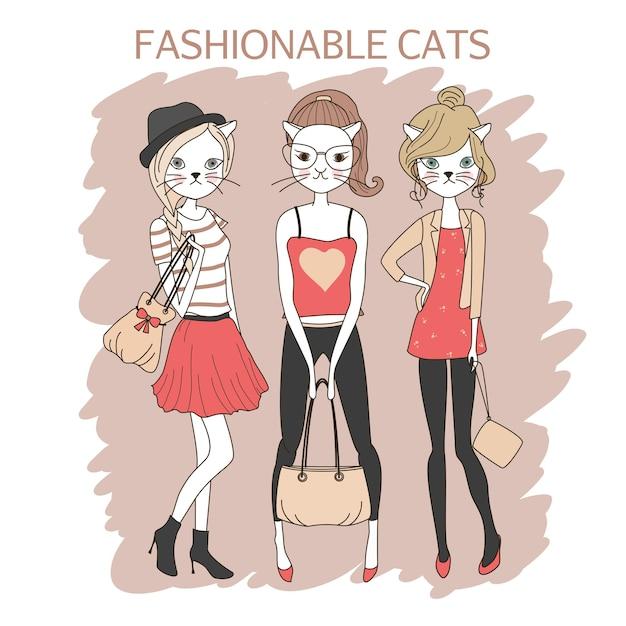 Niedliche mode mädchen katzen farbige vektor-illustration Kostenlosen Vektoren