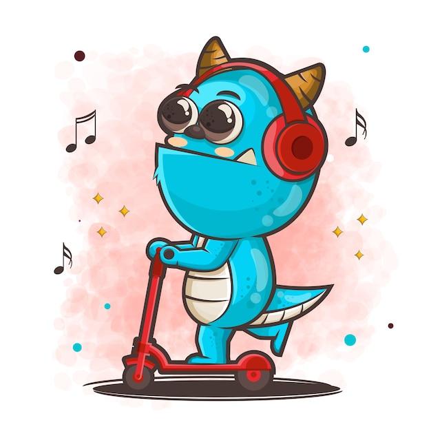 Niedliche monsterkarikaturfigur, die roller reitet, während musikillustration hört Premium Vektoren