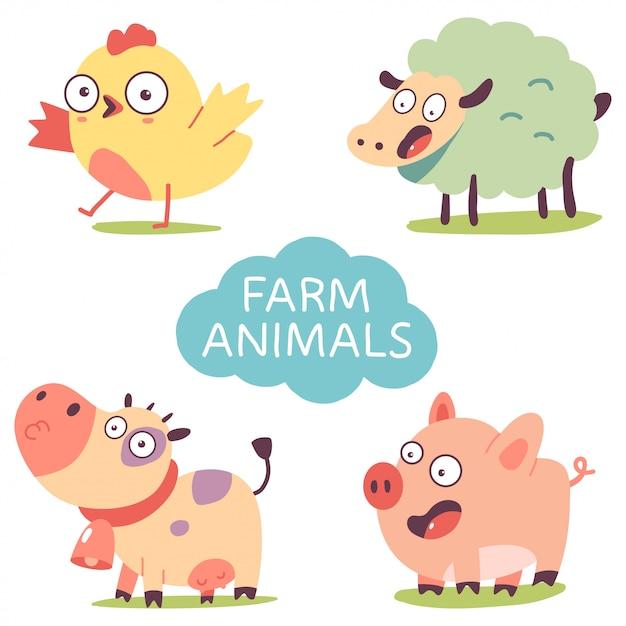 Niedliche nutztiere festgelegt Premium Vektoren
