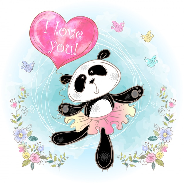 Niedliche panda-ballerina mit einem ballon in form eines herzens. Premium Vektoren